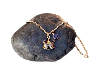 Circus Tent Necklace Birthstone Included Antique Gold Plated Pewter Finish Charm Personalized Jewelry Circus Tent Charm