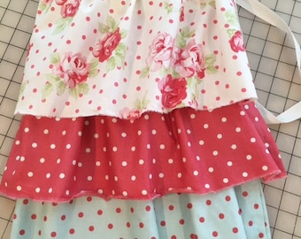 SALE Half Apron Pink  Last one! Shabby Roses Dots Red Cream Blue  Raw Edge Ruffles Housewarming Gift