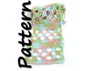 Summer scarf crochet pattern pdf, trellis, geometric lace, mesh, easy scarf pattern, one skein, lacy design, written instructions