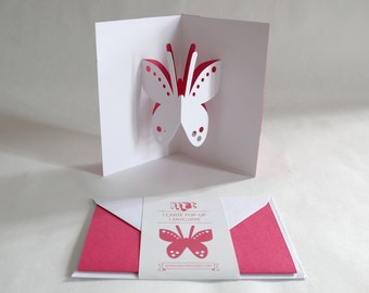 Pop-up Card // Butterfly Pink // Creative Stationery, Everyday Gift Card, Birthday Card, Greeting Card, Decorative Card