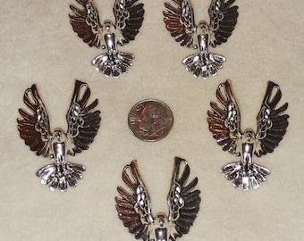 striking shiney silver metal eagle  charms or pendants