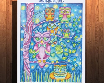 Ornamental Owls Printable Digital Coloring Book
