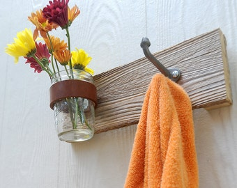 DUO mason jar and hook coat rack, vase, organizer for your kitchen, bathroom, entry