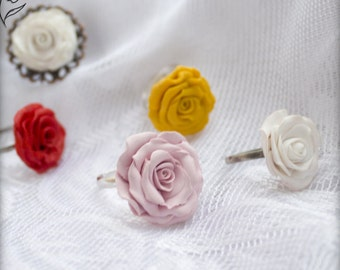 Victorian Rose Ring yellow Flower Ring fairy tale jewelry summer red rose ring botanical white rose ring clay pink romantic rose statement