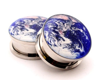 Earth Picture Plugs gauges - 16g, 14g, 12g, 10g, 8g, 6g, 4g, 2g, 0g, 00g, 7/16, 1/2, 9/16, 5/8, 3/4, 7/8, 1 inch
