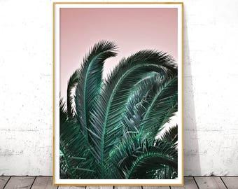 Palm Tree Leaf Wall Art, Tropical Gift Her, Digital Download, Botanical Poster, Aqua Pink, Palm Leaf Print, Boho Chic Decor, California