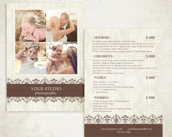 Photographer Price List -  Photography Package Pricing - Price Guide Photography Marketing Template 001 - ID124, Instant Download