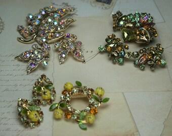 Vintage Brooch and Earring Sets - 3 Sets - Floral Design