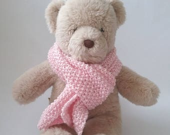 Teddy Bear Clothes, Pale Pink Moss Stitch Handknitted Scarf