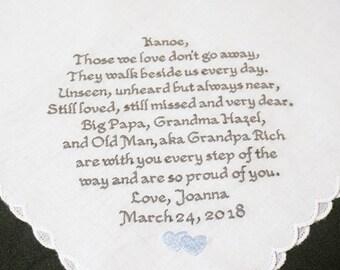 Memorial Keepsake Handkerchief, Custom Embroidered Handkerchief, Wedding Day Memorial, 30-60 Words, FREE Gift Box, Thread Born Memories