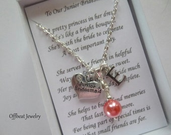 Personalized Pearl Necklace, Personalized Bridesmaid Necklace, Personalized Flower Girl Neckace, Personalized Childrens Necklace, Kids Gifts