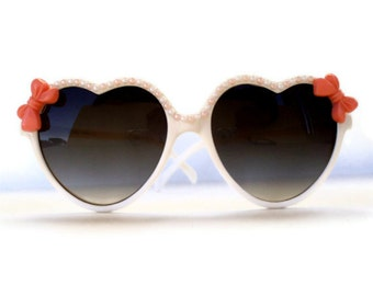 Heart Shaped Sunglasses, Pearl and Peachy Pink Bow, Retro Sunglasses, Womens Sunglasses, Heart Sunglasses, Embellished Sunglasses