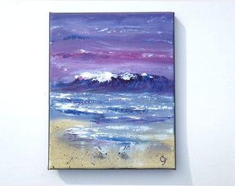 Ocean painting, beach painting, 8x10  oil seascape painting, small ocean painting