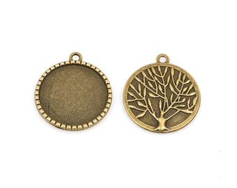 "5 Large Bronze TREE OF LIFE Charm Pendants, Cabochon Bezel Tray, fits 25mm (1"") round cabs, chb0363"