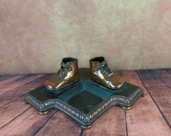 Vintage Bronzed Baby Shoes//Bronze Baby Shoe//Copper Dipped Toddler Shoes//Mid Century Office Decor//Paperclip, Pencil Holder/Ashtray Holder