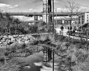 New York Photography -  Brooklyn Bridge reflecting in a puddle. Manhattan Bridge in background. Black and White Photograph - 8x10 photo