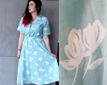 Vintage 80s does 50s Dress | White and Blue Dress | Large Dress L | Size 12 Dress | 50s House Dress | Hawaiian Dress | Spring Dress Cotton