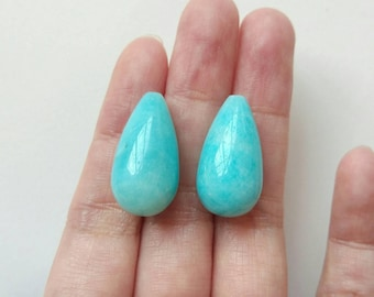 Peruvian Amazonite Half Top Drilled Long Fat Smooth Teardrops 12x22 mm One Pair J7013