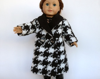 18 Inch Doll Coat - Fall Black and White Coat for 18 Inch dolls like American Girl, Gotz and Maplelea. Handmade Doll Clothes for AG.