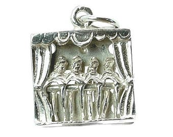 Sterling Silver Moving Dancing Showgirls Charm For Bracelets