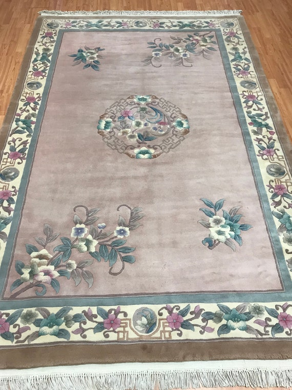 6' x 9' Chinese Aubusson Oriental Rug - Hand Made - 100% Wool