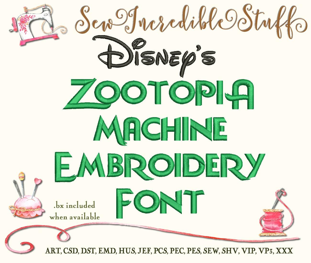 Disneys Zoomania Maschine Stickerei Schriftart von ...