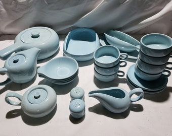 27 Pcs Russel Wright Steubenville American Modern Glacier Blue Lot - for sale by the piece or in total