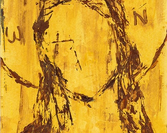Original outsider art modern Christian icon of Christ - original semi-abstract Jesus painting by Ina Mar