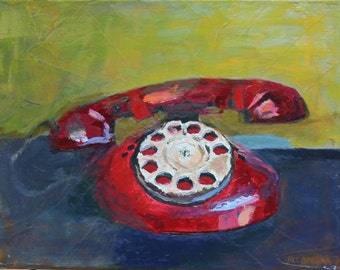"Red Tin Toy Telephone Painting Oil on Canvas Original Painting 11"" x 14"" Authentic One of a Kind Jill Opelka Still Life Oil Painting Framed"