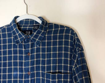 Blue Plaid Gap Button-Up