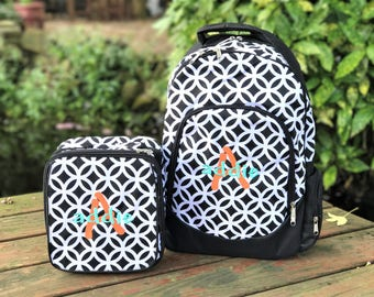 Monogrammed Backpack and Lunchbox Set - Black and White Backpack - Backpack Set for Girls - Geometric Print Backpack - Backpack and Lunchbag