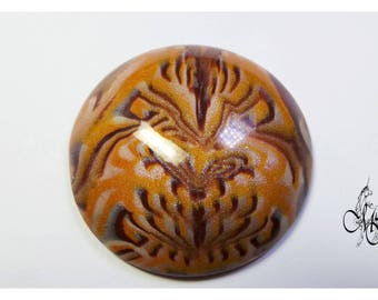 Gold and Brown 45mm polymer clay cabochon