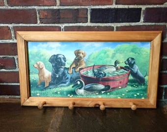 Vintage, coat hook, tie holder, Labrador retreiver , lab puppies, wood wall hanging with hooks, children's room, dogs leashes,