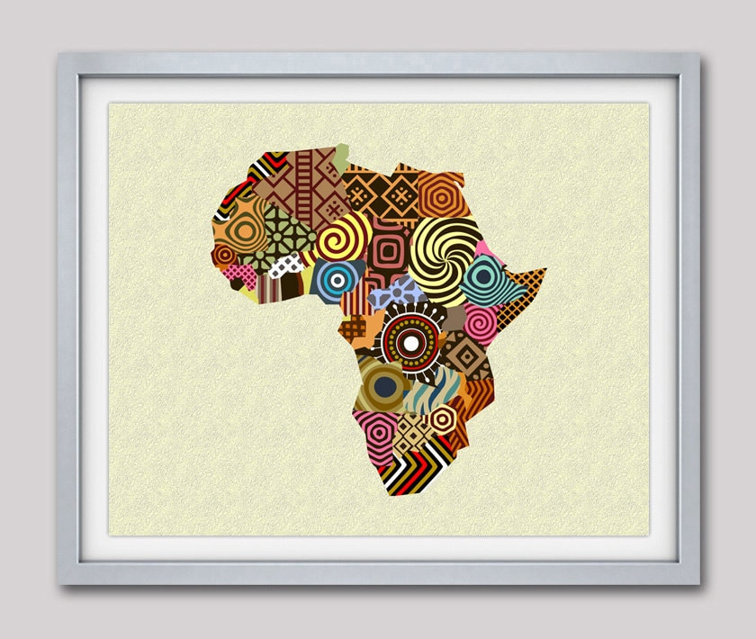 Good African Map Art, African Wall Art, African Wall Decor, African Shop,  Afrocentric Art, African Print Map Decor