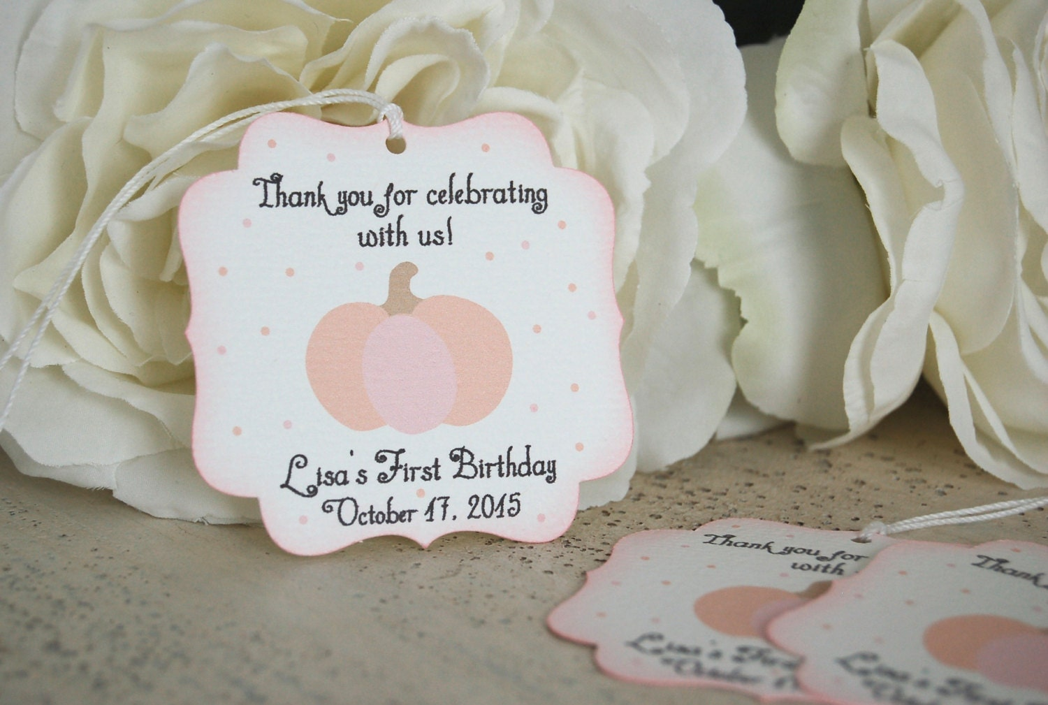 Pink Pumpkin baby shower favor tags little pumpkin first