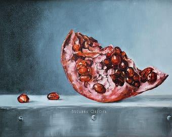 Original Painting-Oil-Canvas-Pomegranate-Fruit-Still Life