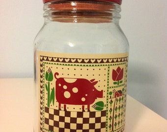 Vintage Jar Vintage Canister Large Jar With Lid Cookie Jar Country Jar