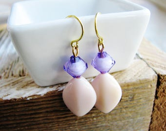 Pink and Purple Beaded Earrings, Bead Earrings, Boho Earrings, Dangly Earrings, Beadwork Earrings