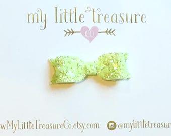 MINI Aubrey Bow - Lime Green Sherbet Glitter