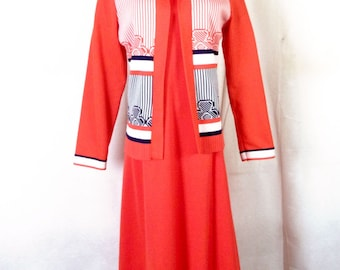 vtg 60s Puritan Forever Young LOUD Safety Orange 2 Pc Dress Set Vest Day Glo 16