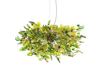 Hanging Chandeliers, Hanging lamp, Lighting with Green color flowers and leaves for Dining Room, or living room. unique hand made chandelier