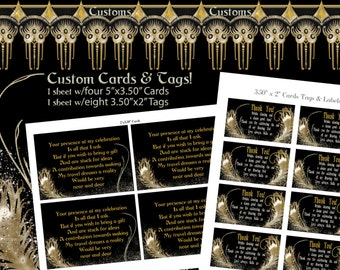 Roaring 20s Custom Cards and Party Tags, Custom Cards, Tags and Labels