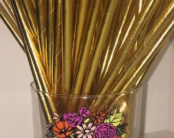 GOLD METALLIC STRAWS -