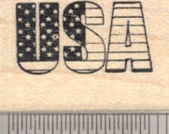 USA Rubber Stamp, United States of America Flag D24333 Wood Mounted