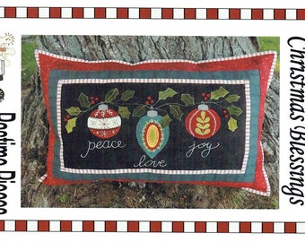 "Primitive Folk Art Wool Applique Pattern:  ""CHRISTMAS BLESSINGS"" - Design by Pastime Pieces (Marlene Wymenga)"