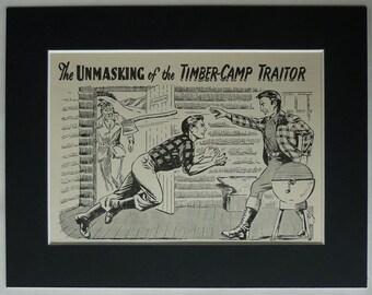 1950s Vintage Boys' Adventure Print of American Lumberjacks in a Log Cabin Retro pioneer art, boys' action picture - Rustic Wood Cutter Gift