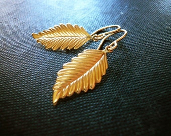 Gold Leaf Earrings in 14K Gold Filled - Textured Gold Filled Leaf or Gold Feather Earrings