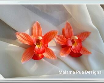 TROPICAL HAIR Clip - Real Touch Orchid, Coral Orange, Bridal Flower Clip, Swarovski Crystal, Beach, Flower Headpiece, Wedding Hair Accessory