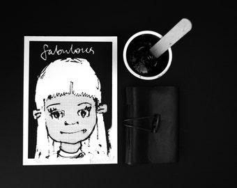 Original Illustration - Limited Edition Handmade Silkscreen Print - Fabulous Girl #1
