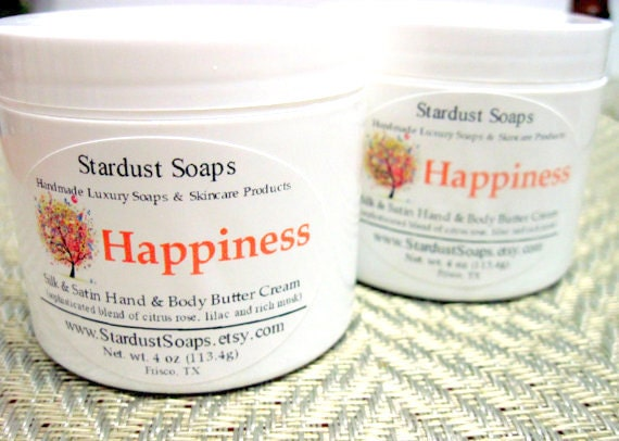 Happiness / Jar Cream (Handcrafted, moisturizing, silky, smooth, aromatic, clean, fresh) Stardust Soaps